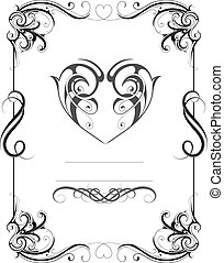 Vintage frame with heart shape