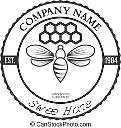 Vintage frame with Honey label template