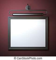 Vintage frame with lamp on red wall