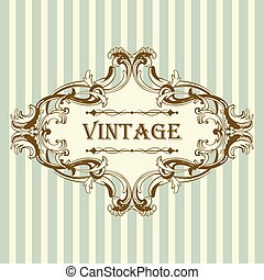 Vintage Frame With Retro Ornament Elements in Antique Rococo...