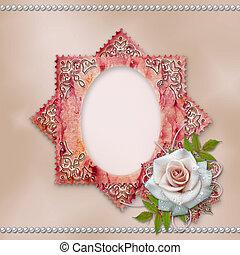 vintage frame with rose