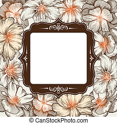 Vintage frame with roses glamorous, hand-drawing. Vector illustration.