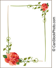 vintage frame with roses and creeping plant