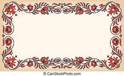 Vintage frame with traditional Hungarian floral motives -...