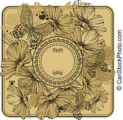 Vintage frame with wild flowers and butterflies. Vector illustration.