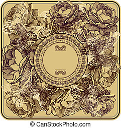 Vintage frame with wild roses and butterflies, hand-drawing. Vector illustration.