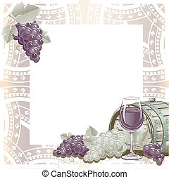 Vintage frame with wine and grapes