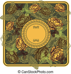 Vintage frame with yellow roses and butterflies, vector illustration.