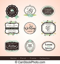 vintage frames and design elements for wedding invitation greeting cards