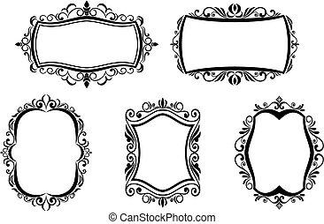 Vintage frames - Antique vintage frames isolated on white...