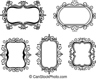 Antique vintage frames isolated on white for design