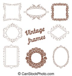 Vintage Frames Hand Drawn Set. Retro Decorative Design Elements. Vector illustration