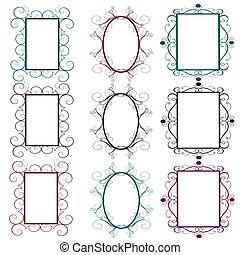 vintage frames in diferents colors
