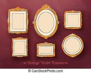 Vintage frames set. - Vintage baroque golden frames set.