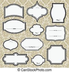 Vintage Frames - Vector frames. Damask pattern included in ...