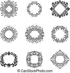 Vintage frames vector set.