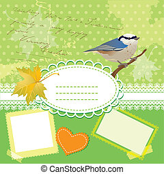 Vintage frames with bird and leafs