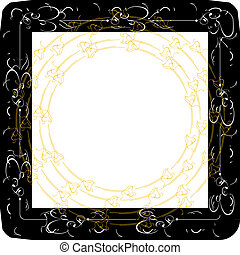 vintage frames with gold ornament