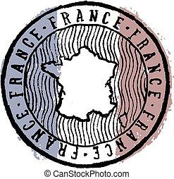 Vintage France Travel Stamp