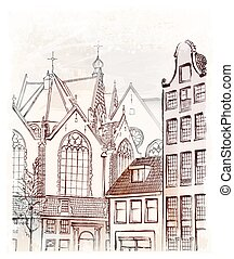 vintage freehand illustration of  Amsterdam