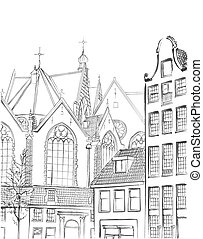 vintage freehand illustration of  Amsterdam