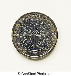 Vintage French 1 Euro coin