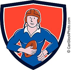 Vintage French Rugby Player Holding Ball Crest Cartoon
