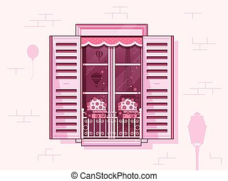Vintage French Window with Shutters and Flowerpots