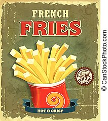 Vintage fries poster design