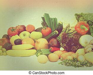Vintage fruit and vegetables