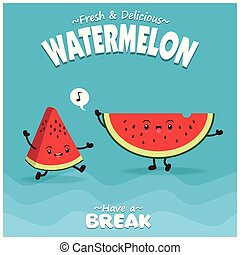 Vintage fruit poster design with vector watermelon character.