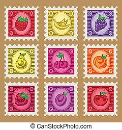 Vintage Fruit Stamps - Vintage set of colorful fruit stamps