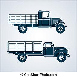 Profile art of two retro fruit/vegetable transport trucks