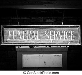 Funeral Service - Vintage Funeral Service cartel made of...