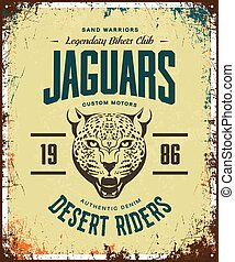 Vintage furious jaguar custom motors club t-shirt vector logo on light background.