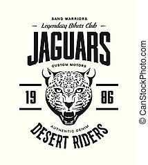 Vintage furious jaguar custom motors club t-shirt vector logo on white background.