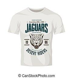 Vintage furious jaguar custom motors club vector logo on white t-shirt mock up.