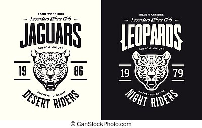 Vintage furious leopard custom motors club t-shirt black and white isolated vector logo.