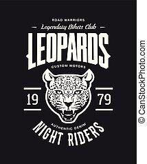 Vintage furious leopard custom motors club t-shirt vector logo on dark background.