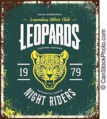 Vintage furious leopard custom motors club t-shirt vector logo on green background.
