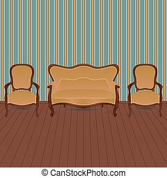 Living room in retro style.