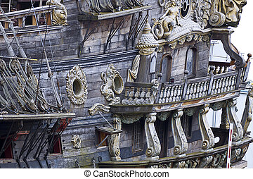 Vintage galleon, touristic attraction in Genoa, Italy -...