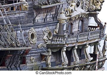 Vintage galleon, touristic attraction in Genoa, Italy -...