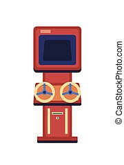 Vintage game machine flat vector illustration. Classic racing arcade cabinet with wheels isolated on white background. Retro entertainment device. Amusement attraction, gaming technology.
