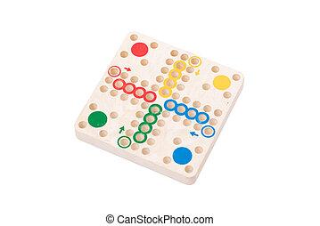 Vintage game of ludo, isolated on white background