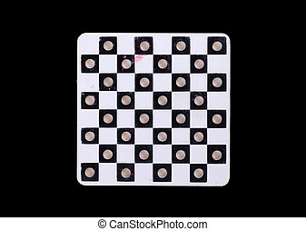 Vintage game of checkers, isolated on black background