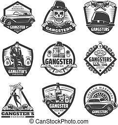 Vintage Gangster Labels Set