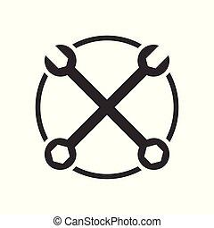 Vintage Garage Crossed Wrenches Vector Symbol Graphic Logo Design