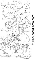 Vintage garden banner with root veggies coloring book