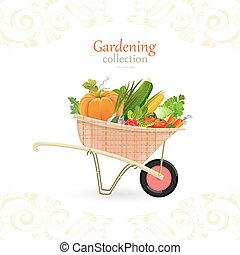 vintage garden cart with vegetables for your design